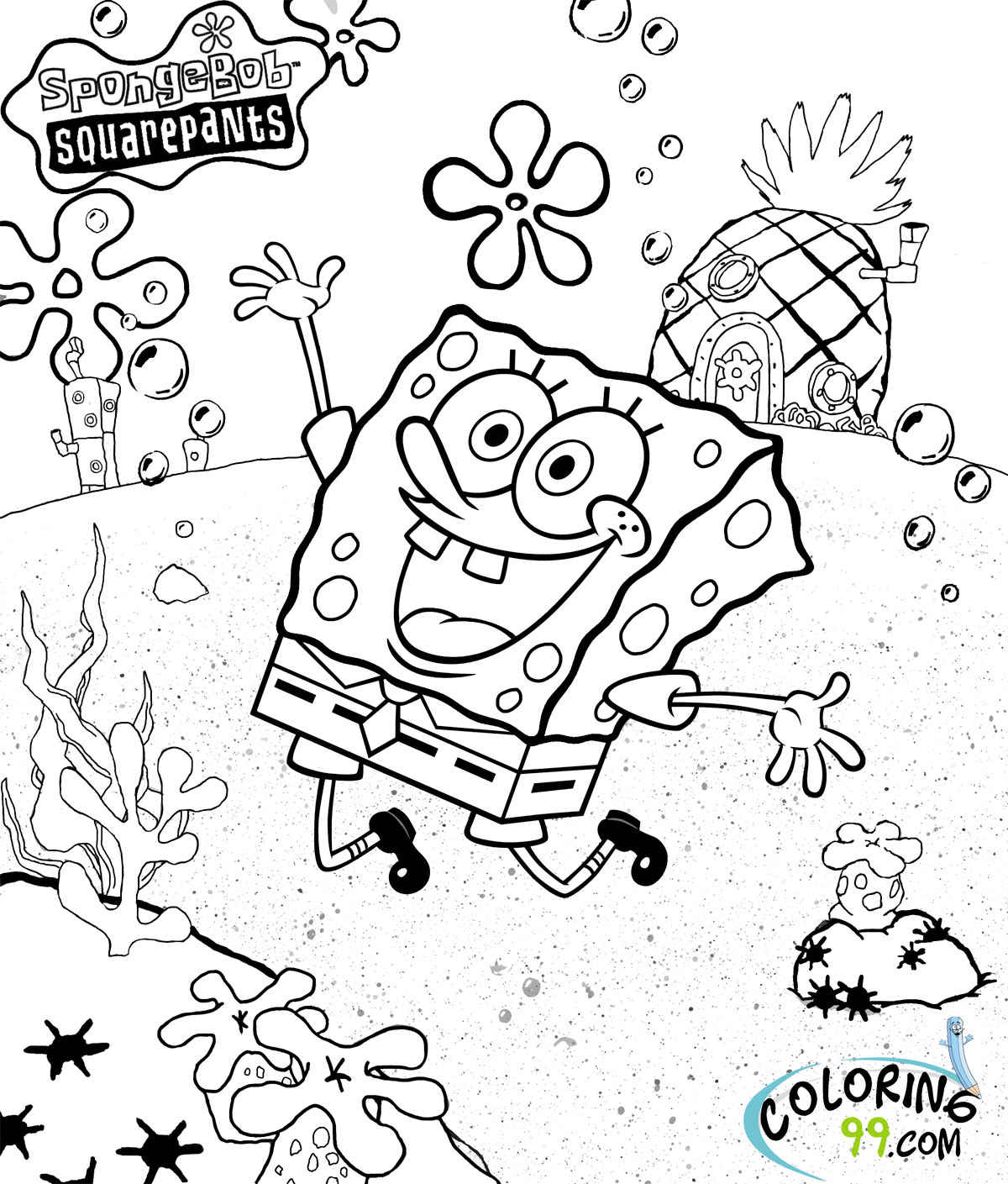 spongebob squarepants coloring pages free printable