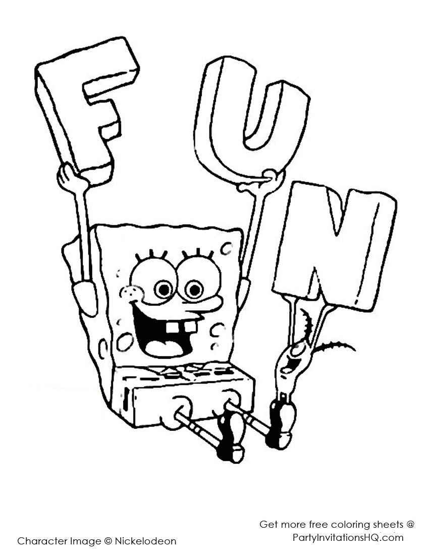 sponge bob square pants coloring pages