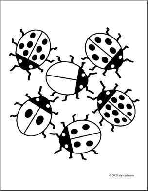 six little ladybugs coloring pages
