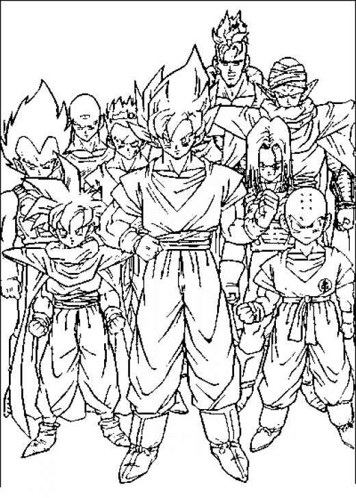 printable coloring pages for dragon ball z