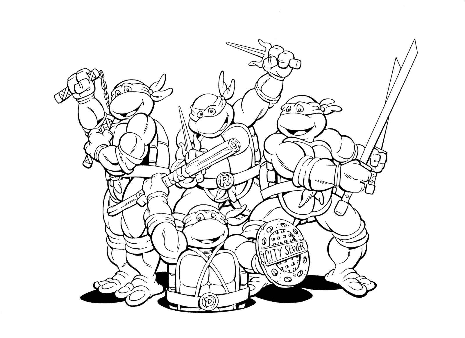 Teenage mutant ninja turtles coloring pages printable for Coloring pages turtles ninja