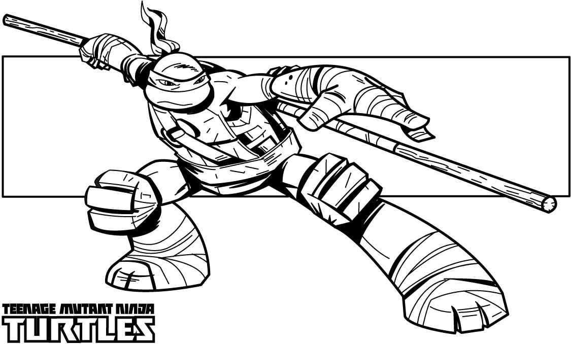 Teenage mutant ninja turtles coloring pages donatello for Turtle coloring pages