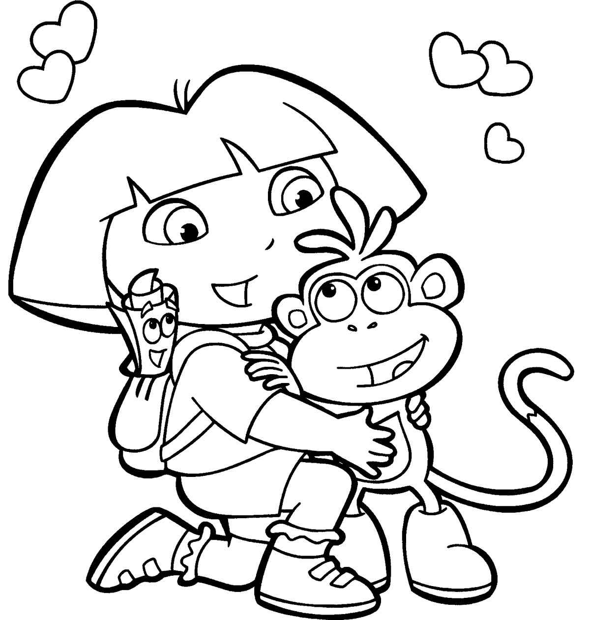 Dora the explorer printable coloring pages for free for Dora the explorer coloring page