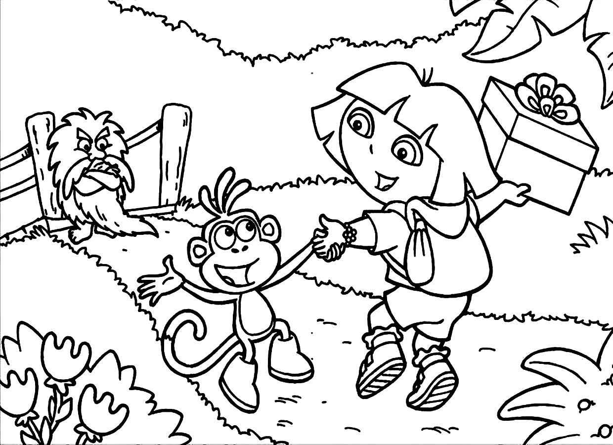 dora the explorer printable colouring pictures