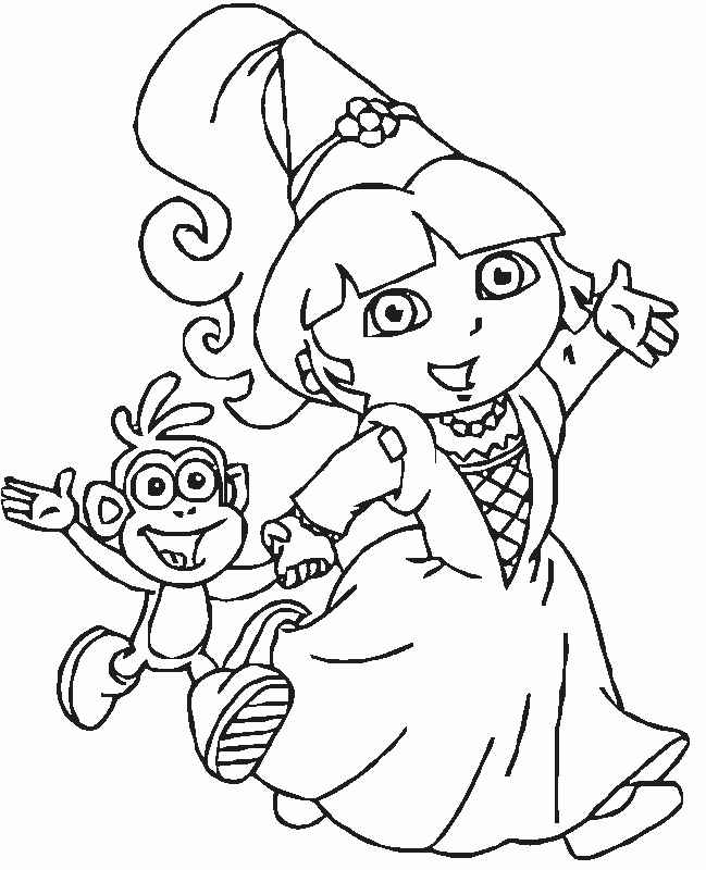 printable coloring pages of dora the explorer
