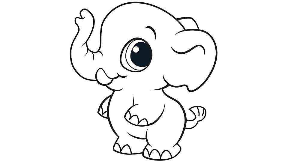 Baby elephant coloring pages print for Baby animal coloring page