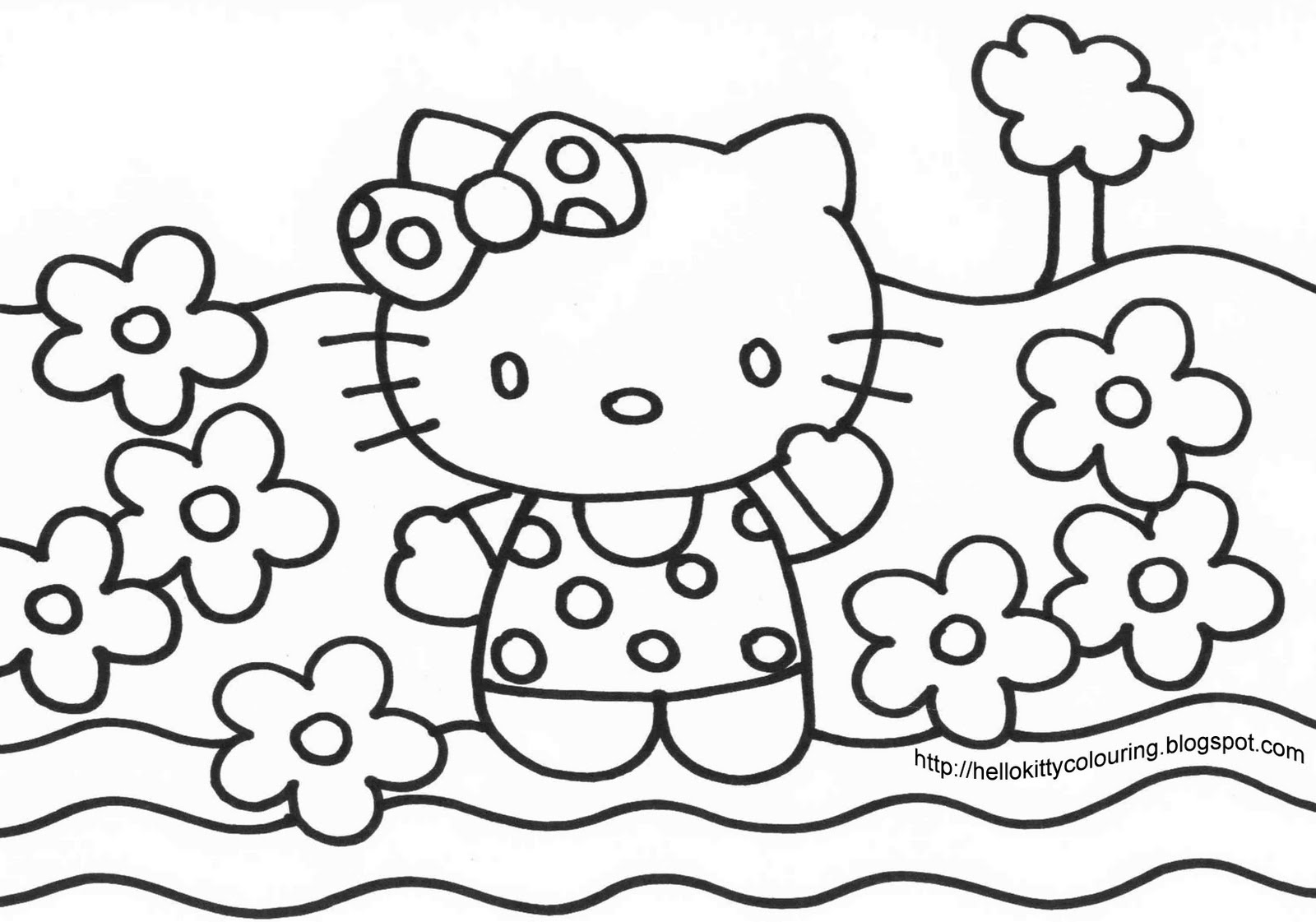 hello kitty coloring pages print out