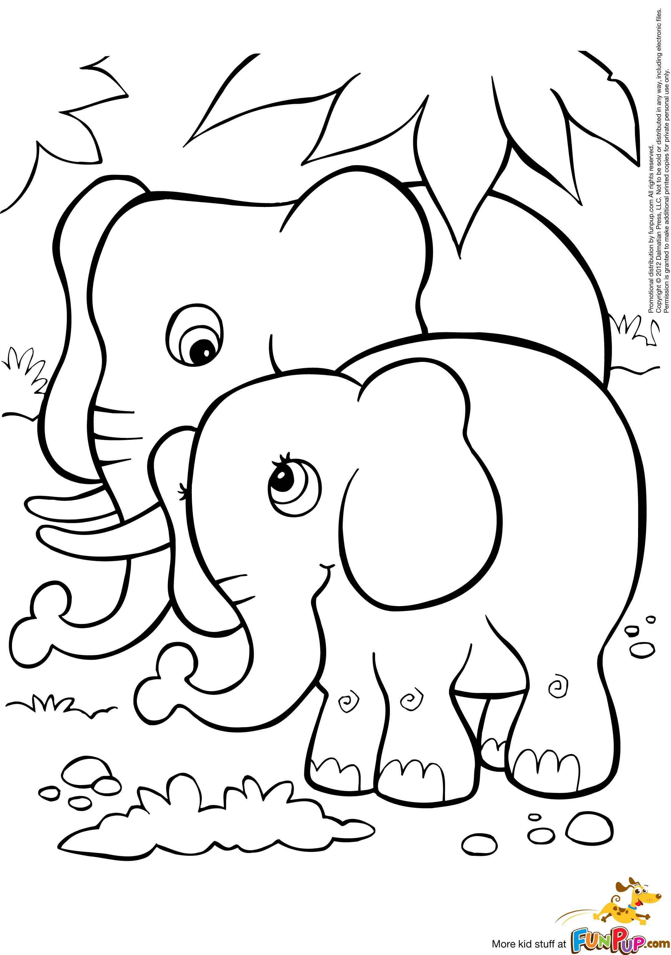 Free baby elephant coloring pages for Elephant coloring pages