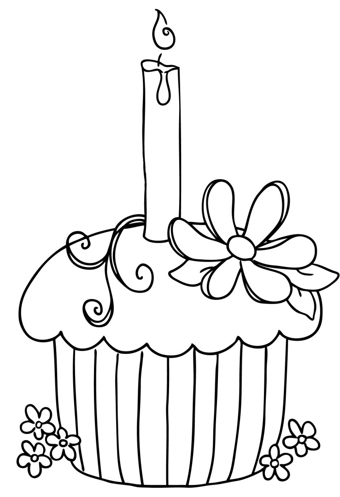 Cupcake-Coloring-Sheets-with-candlelight