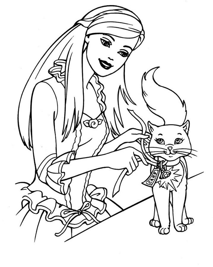 barbie-&-cat-coloring-pages