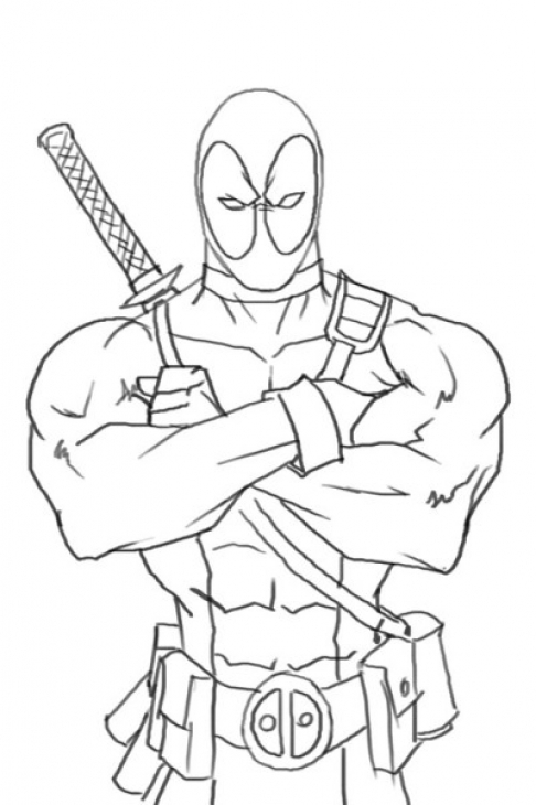 Deadpool coloring page free to print for Deadpool printable coloring pages