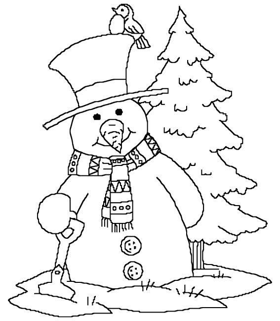 snowman-in-winter-coloring-pages