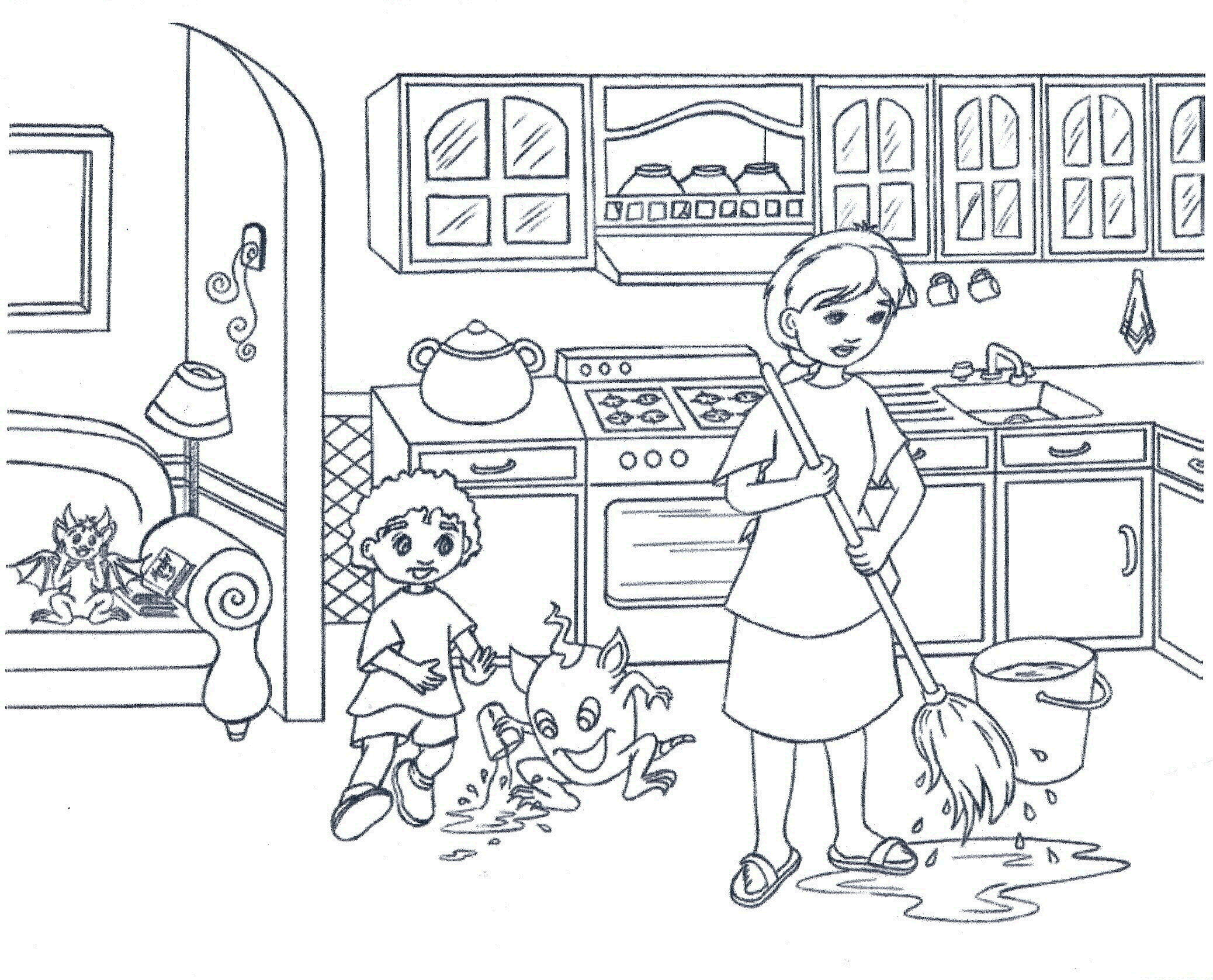 cooking coloring pages - kitchen coloring pages 01