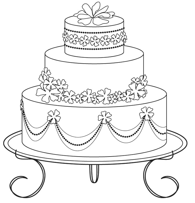 Coloring Sheet Cake Design Coloring Pages
