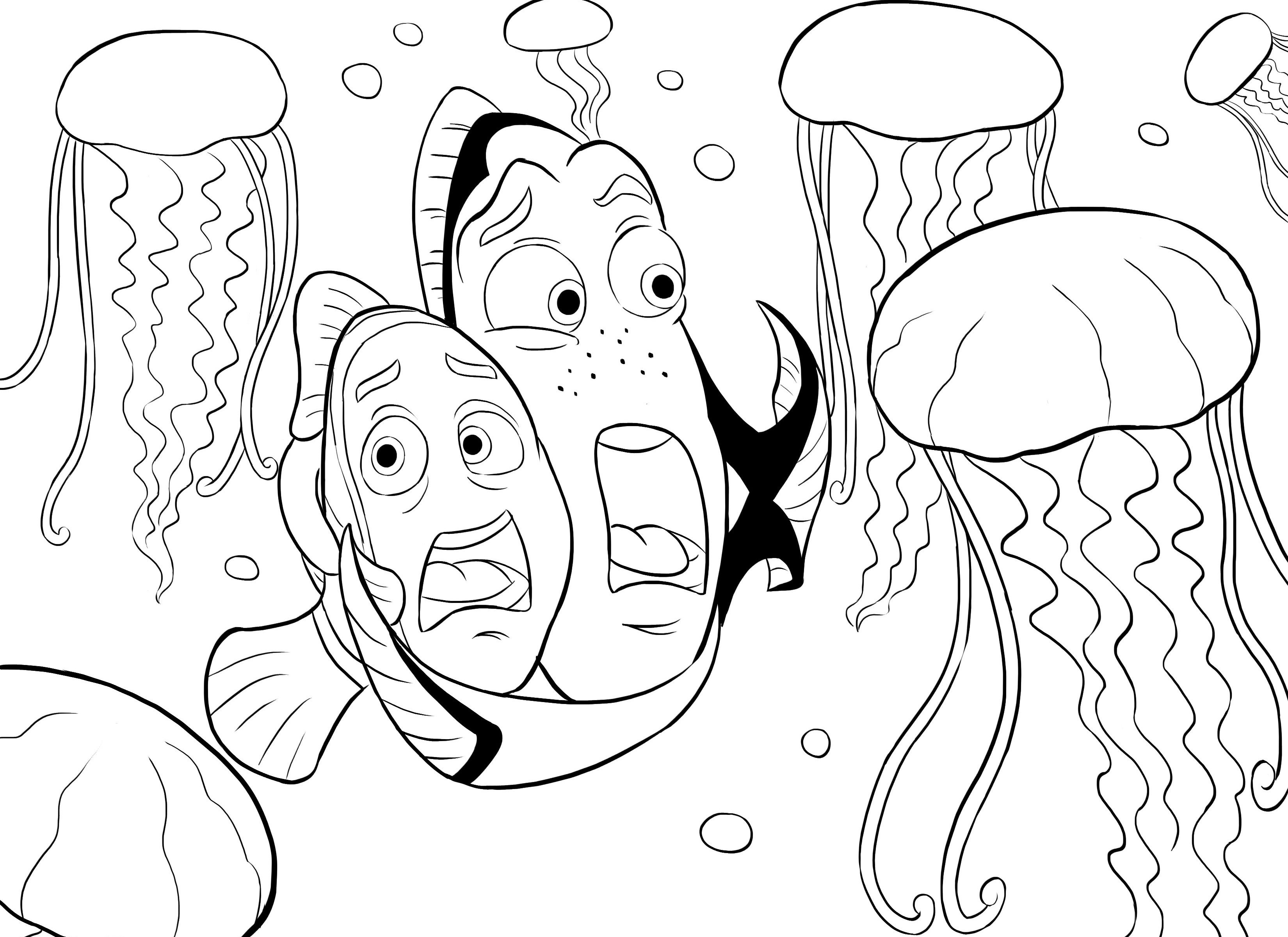 Nemo coloring cute fish for Finding nemo coloring pages free