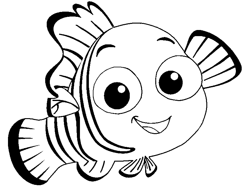 Nemo cute fish coloring pages for Finding nemo coloring pages free