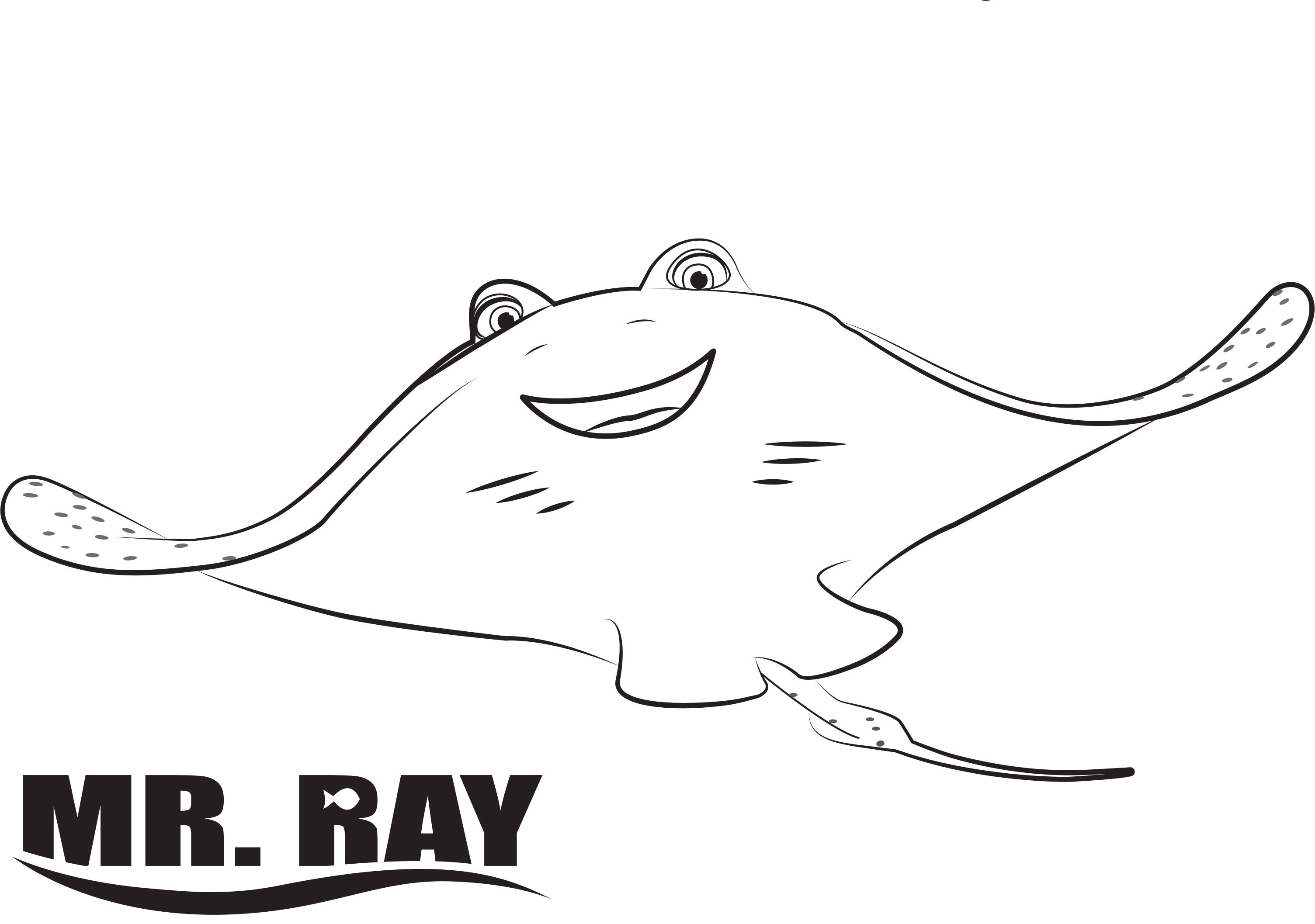 ray finding dory coloring pages