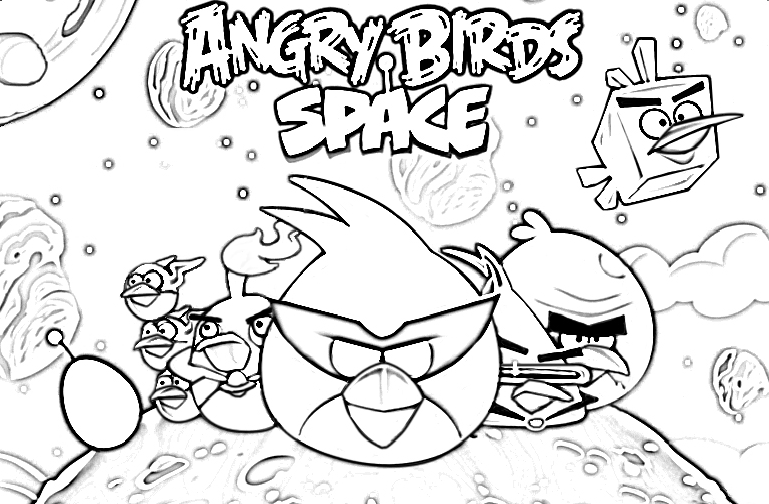 Angry Birds Space Coloring Sheets