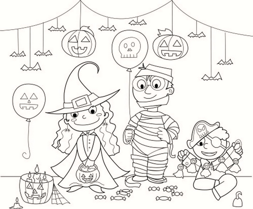 Halloween coloring costume party and decorations coloring for Coloring pages for halloween free printable