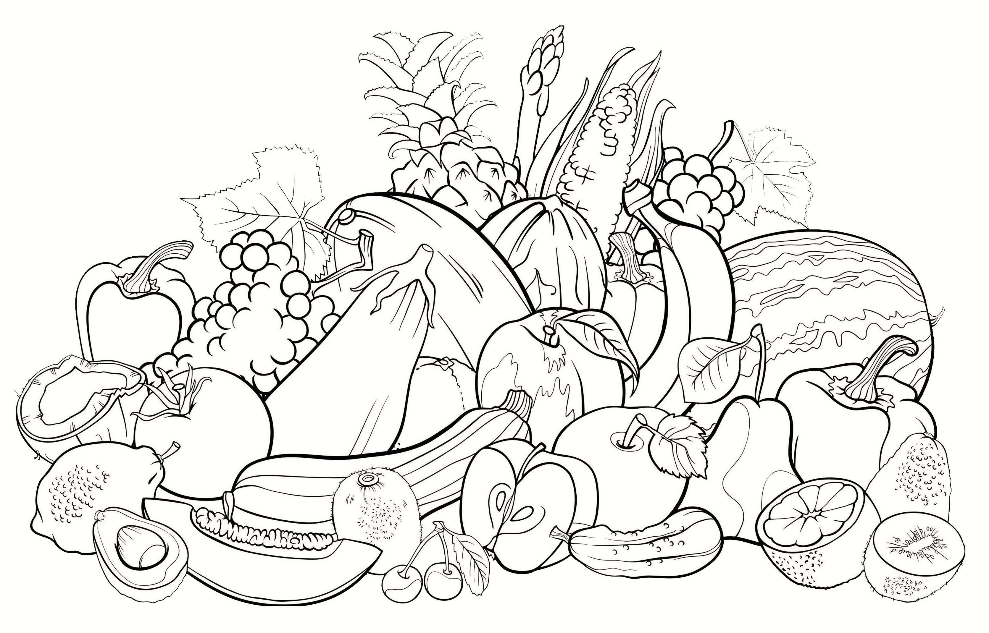 All fruits coloring pages for Coloring pages fruits and vegetables