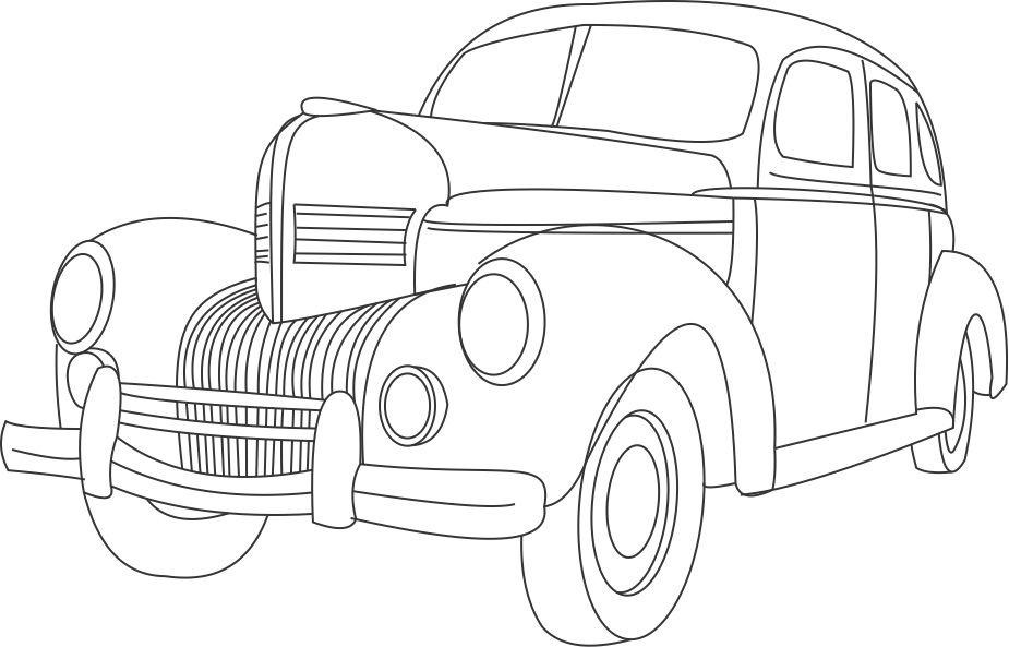 Car Design Coloring Pages : Antique car and the unique design coloring pages for boys