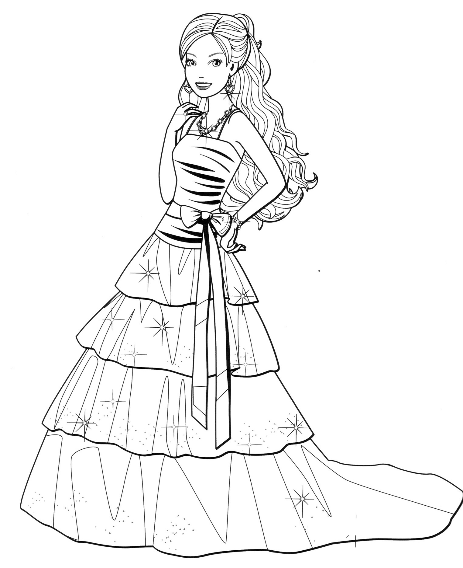 Barbie fashion coloring pages for Fashion barbie coloring pages