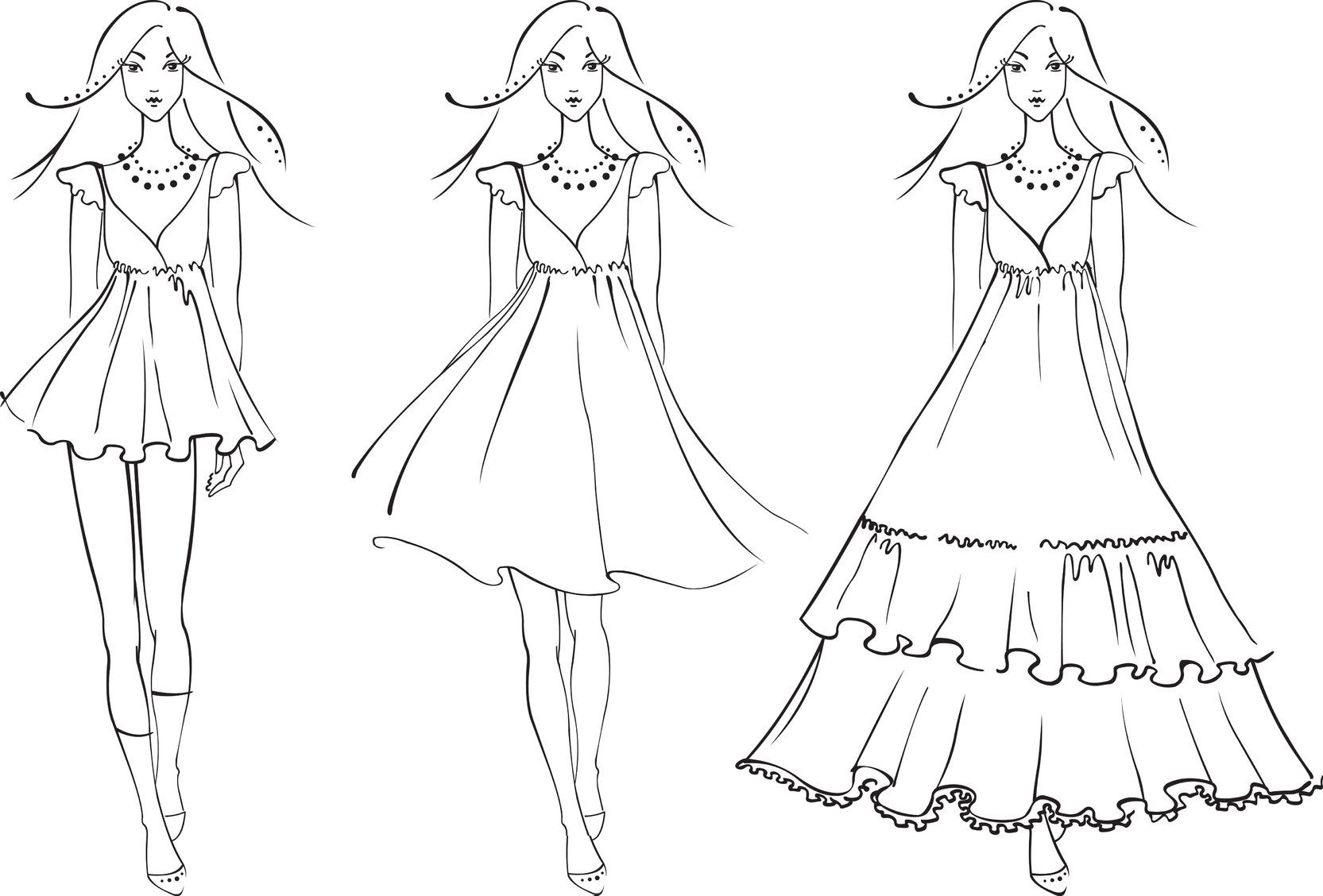 Fashion Dress Coloring Pages for Your little girls - Coloring Pages