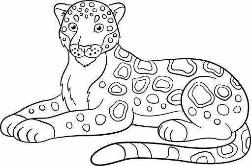Printable Jaguar To Color And Use For Crafts