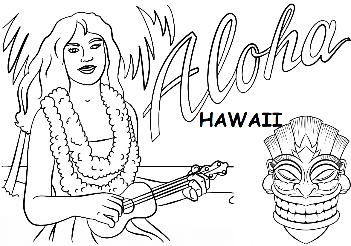 hawaii coloring page - aloha hawaii and tiki mask coloring pages