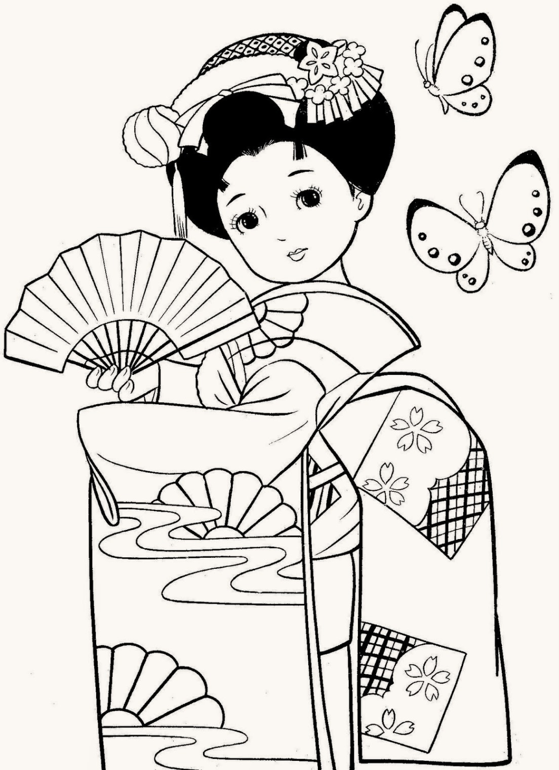 Beatiful Geisha Coloring Pages