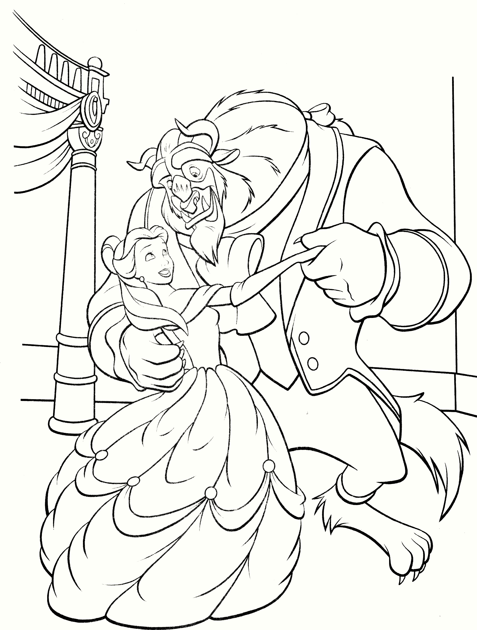beauty-and-the-beast-are-dancing-coloring-pages