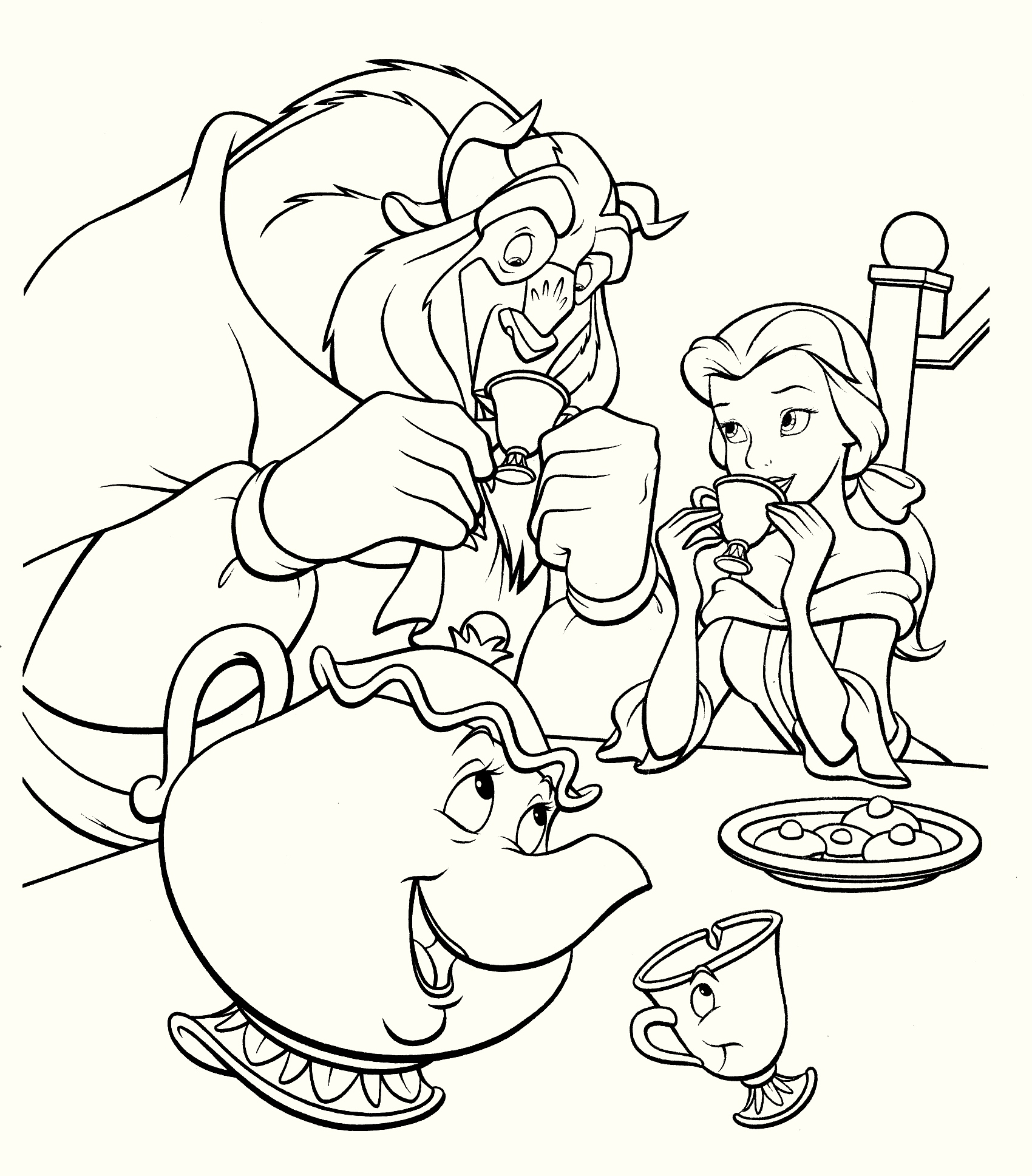 beauty-and-the-beast-have-dinner-coloring-pages