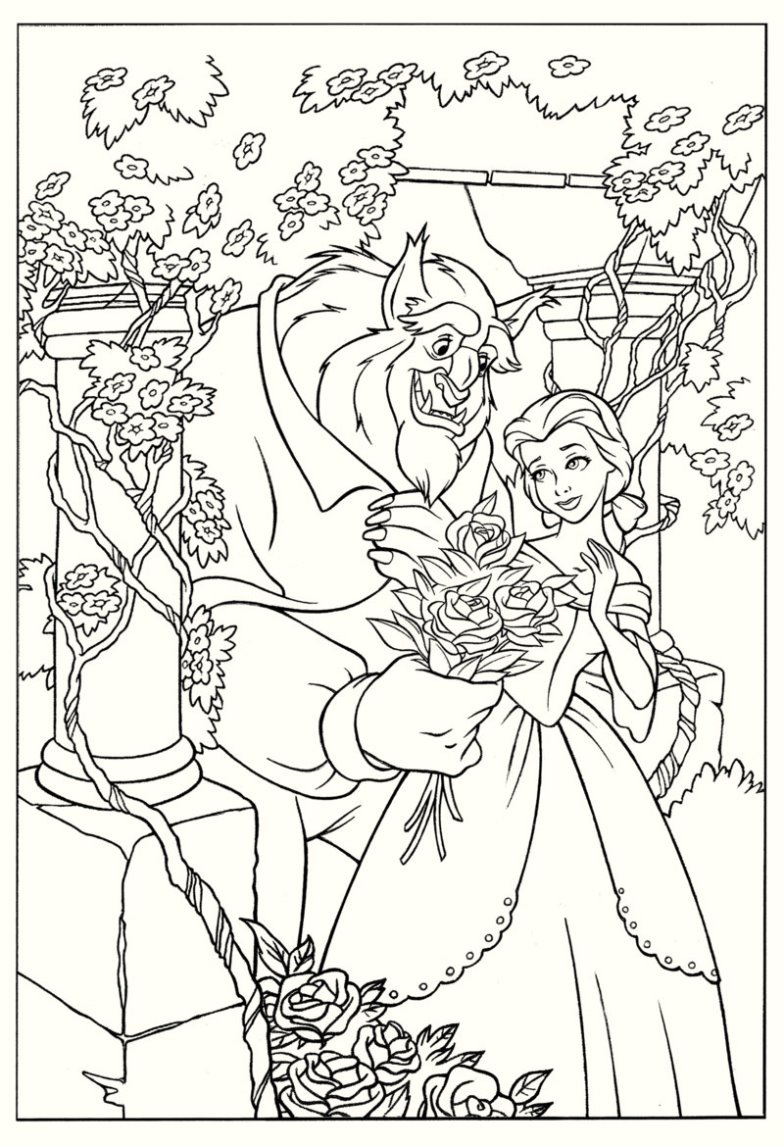 high-resolution-beauty-and-the-beast-coloring-page