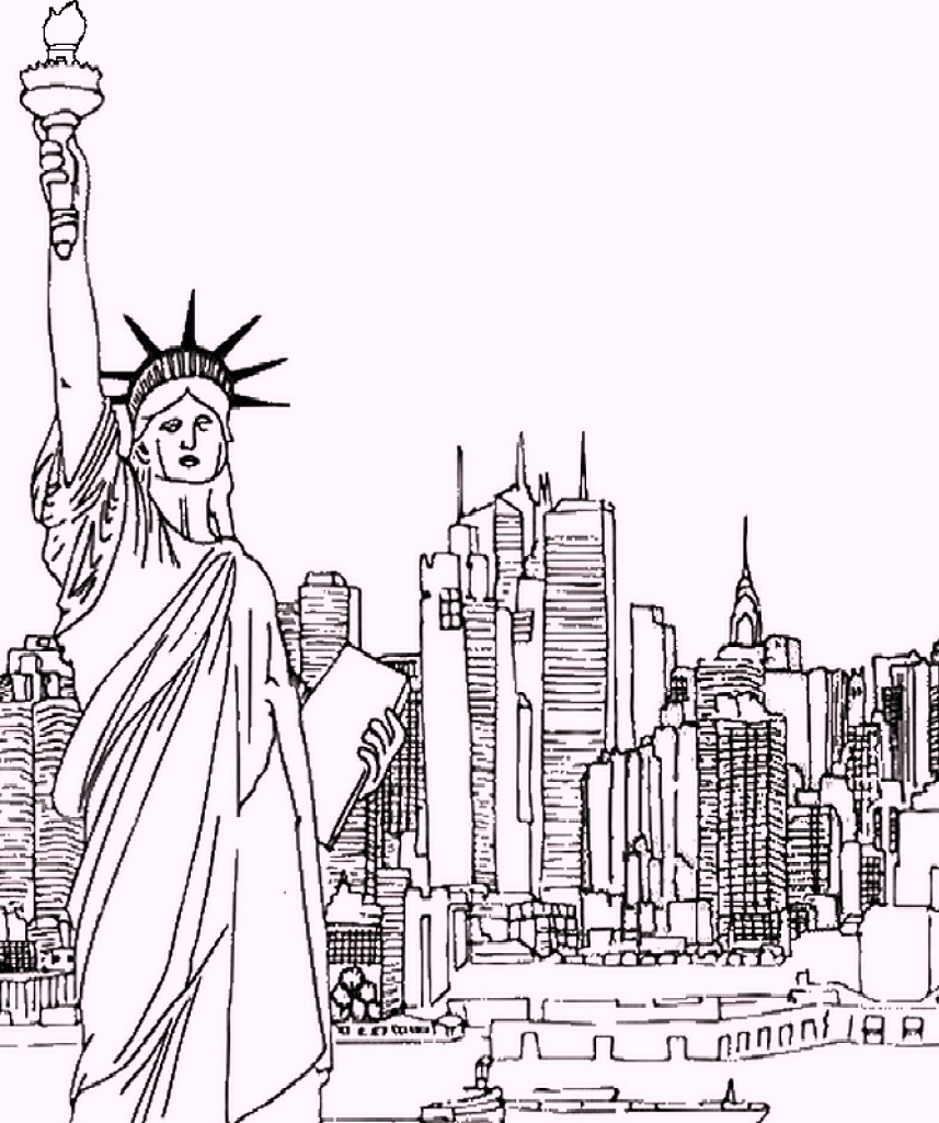 Statue of liberty as landmarks in newyork coloring pages for Disegni new york