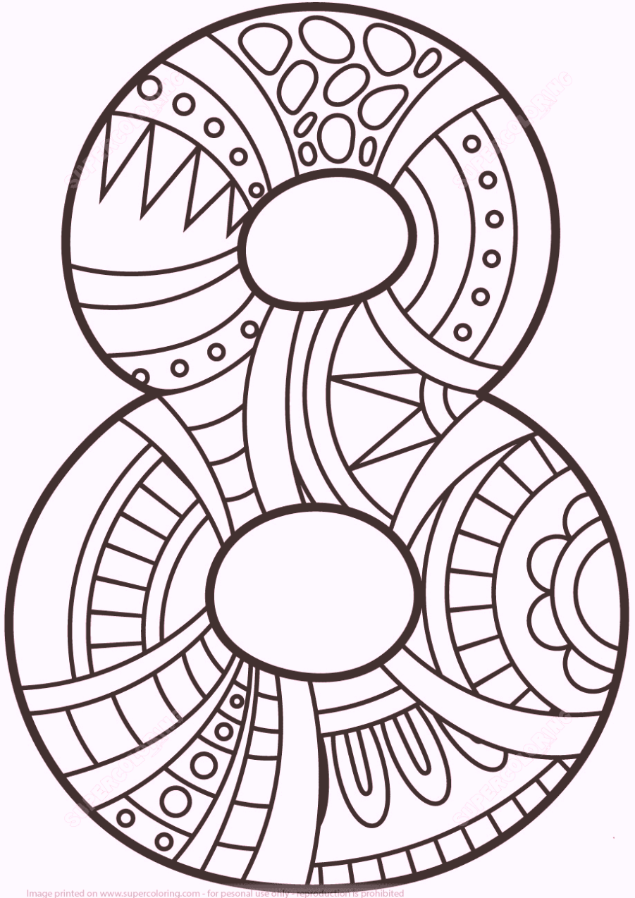 Easy number 8 eight coloring pages for Number 8 coloring page