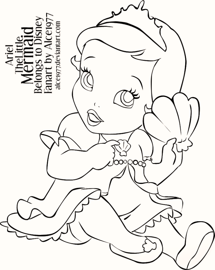 Baby Ariel The Little Mermaid Coloring Pages - Coloring Pages