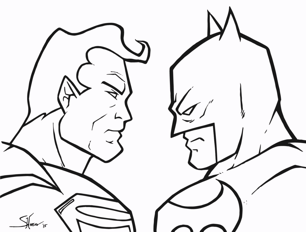 Dc comics superhero superman vs batman coloring pages for Super man coloring page