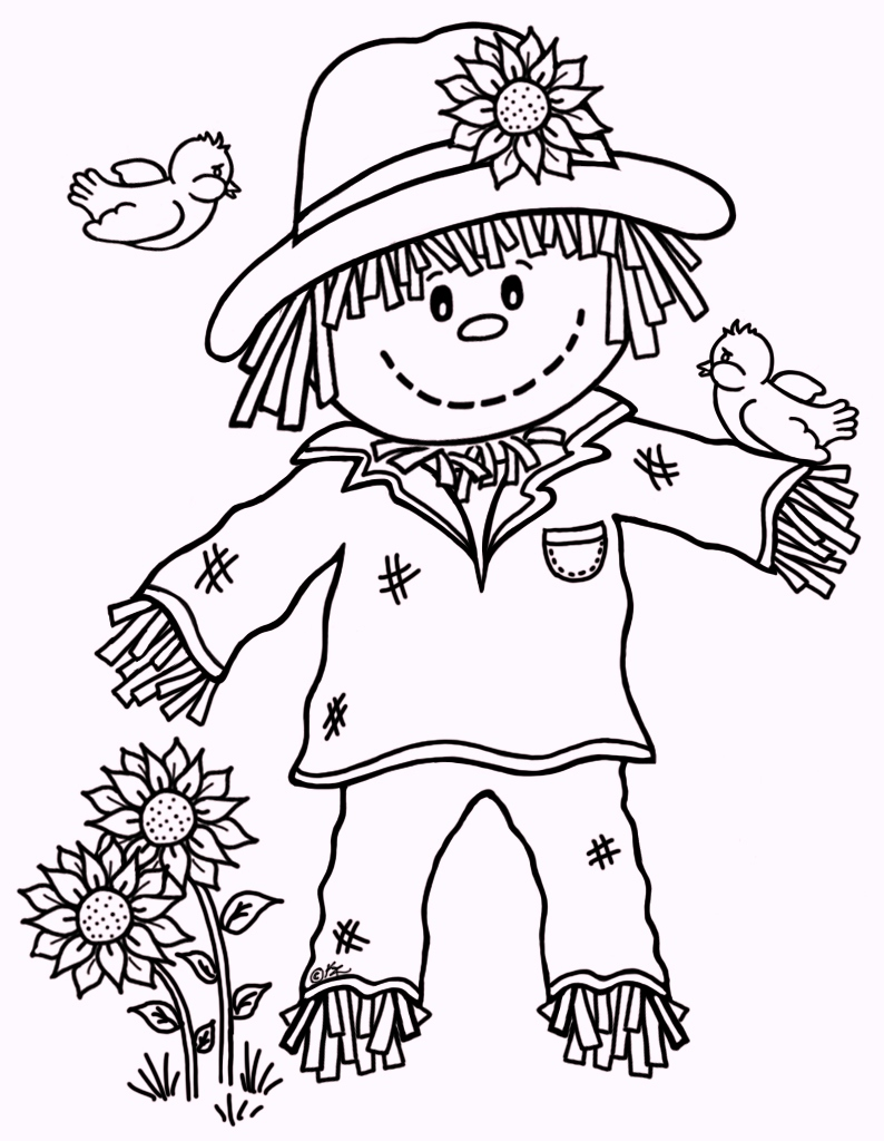 Fall scarecrow coloring pages 02 for Fall coloring pages for toddlers