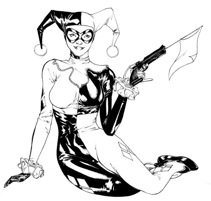 Harley Quinn Black And White Coloring Page