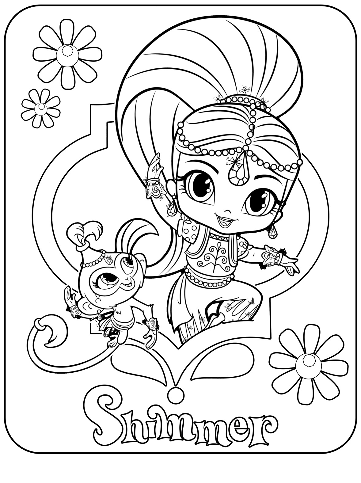 nickelodeon shimmer and shine coloring pages | Shimmer-Spring-time-coloring-page