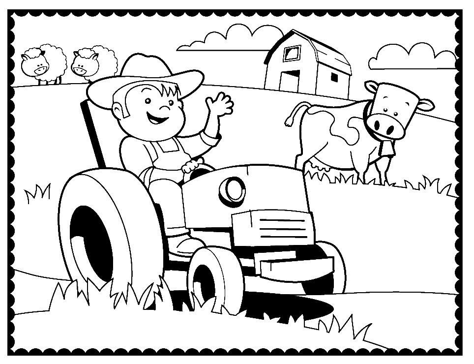 Farmer Coloring Pages Best Farm Machinery Coloring Page  Coloring Pages Design Ideas