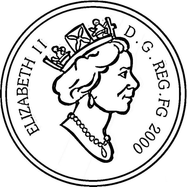 Queen-Elizabeth-II-coin-coloring-page