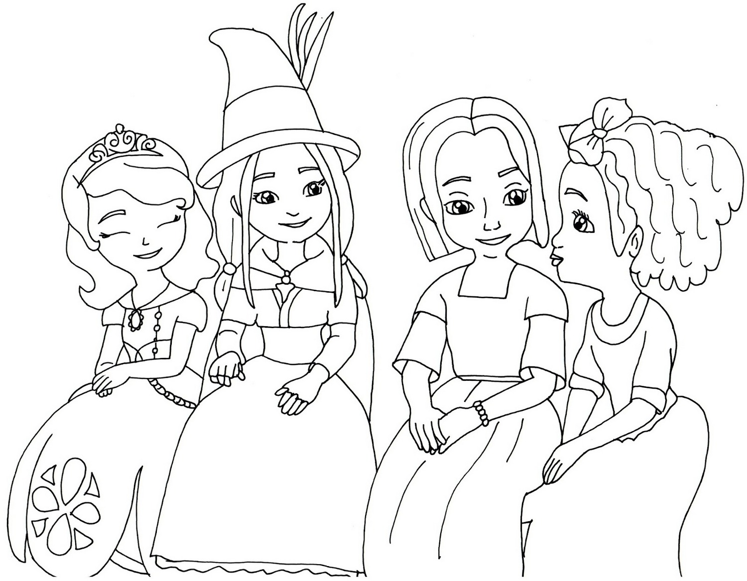 Sofia the first and friends colouring for Sofia the princess coloring pages