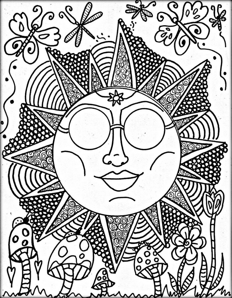 Trippy-sun-theme-coloring-page