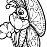 big-flower-and-intricate-butterfly-coloring-pages