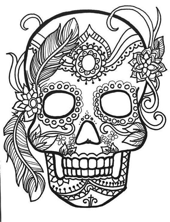 calavera-mask-female-coloring-page
