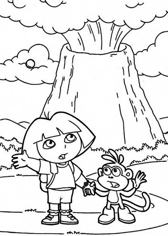 Dora adventure volcano coloring page for Volcano coloring book pages