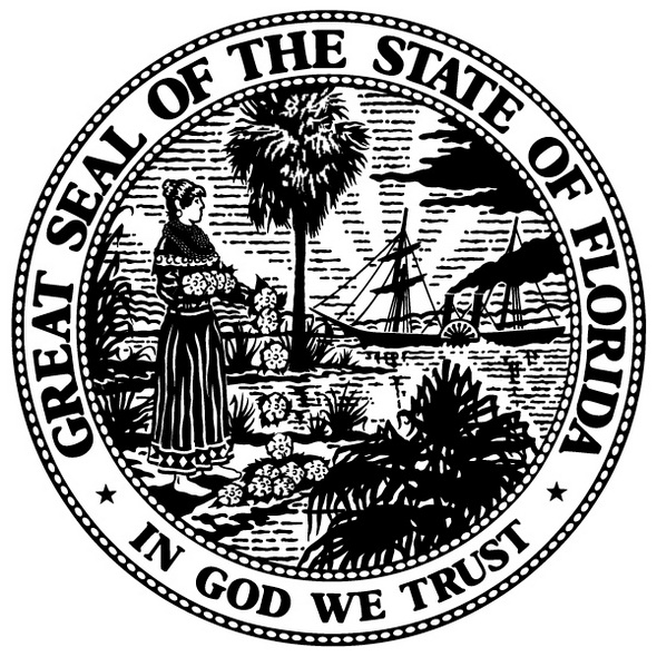 Florida state symbols print out drawing for Florida flag coloring page