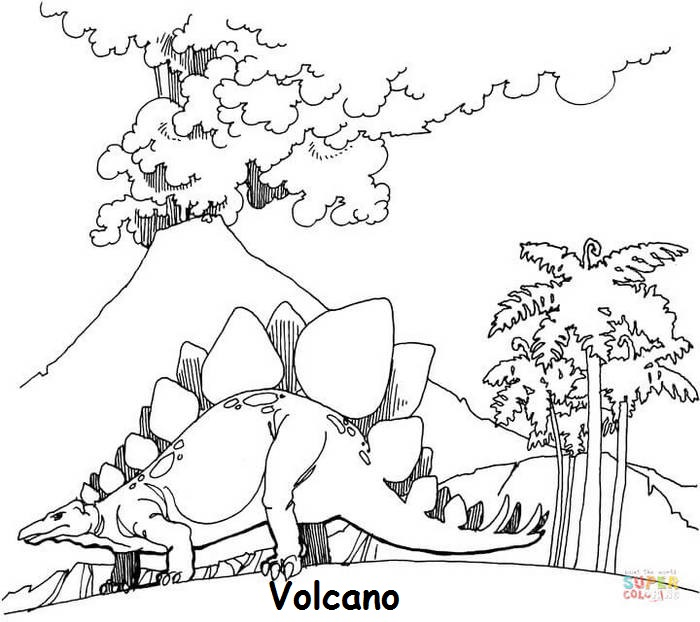 volcano-and-dinosaurus-coloring-page