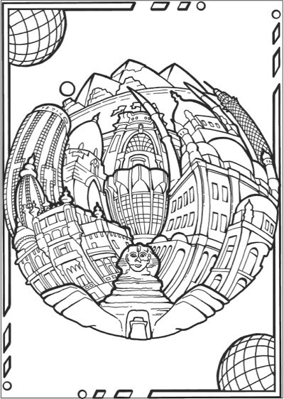 Creative Haven Circular Cities Coloring Book Coloring Pages